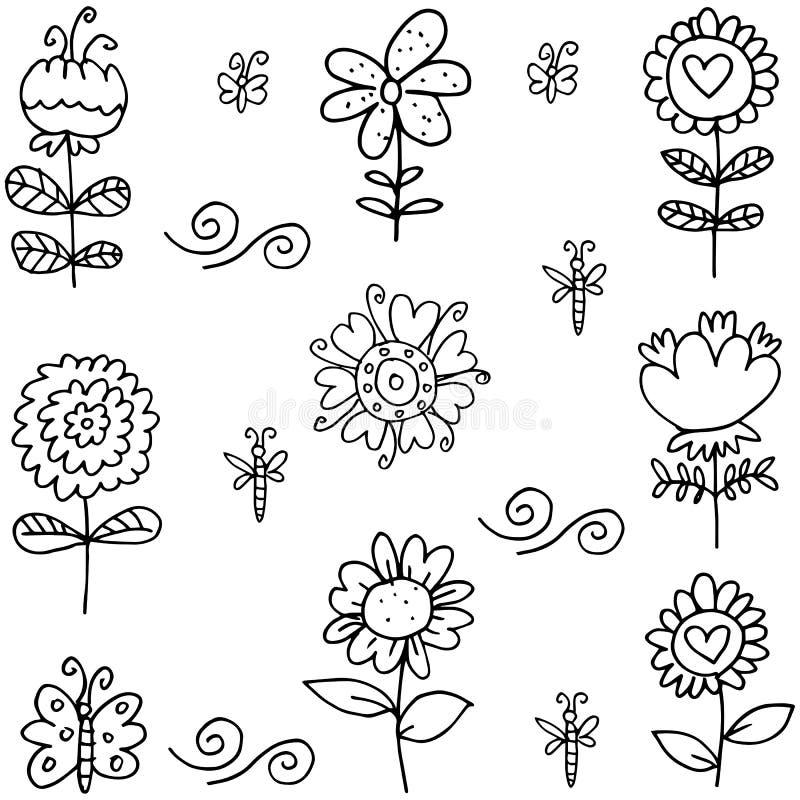 Klotter av konst för blommauppsättningvektor stock illustrationer
