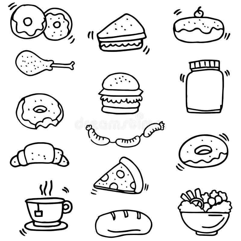 Klotter av mat- och drinkobjekt vektor illustrationer