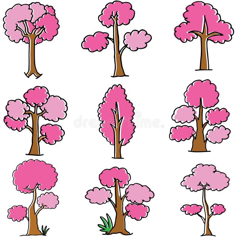 Klotter av rosa trädstil royaltyfri illustrationer