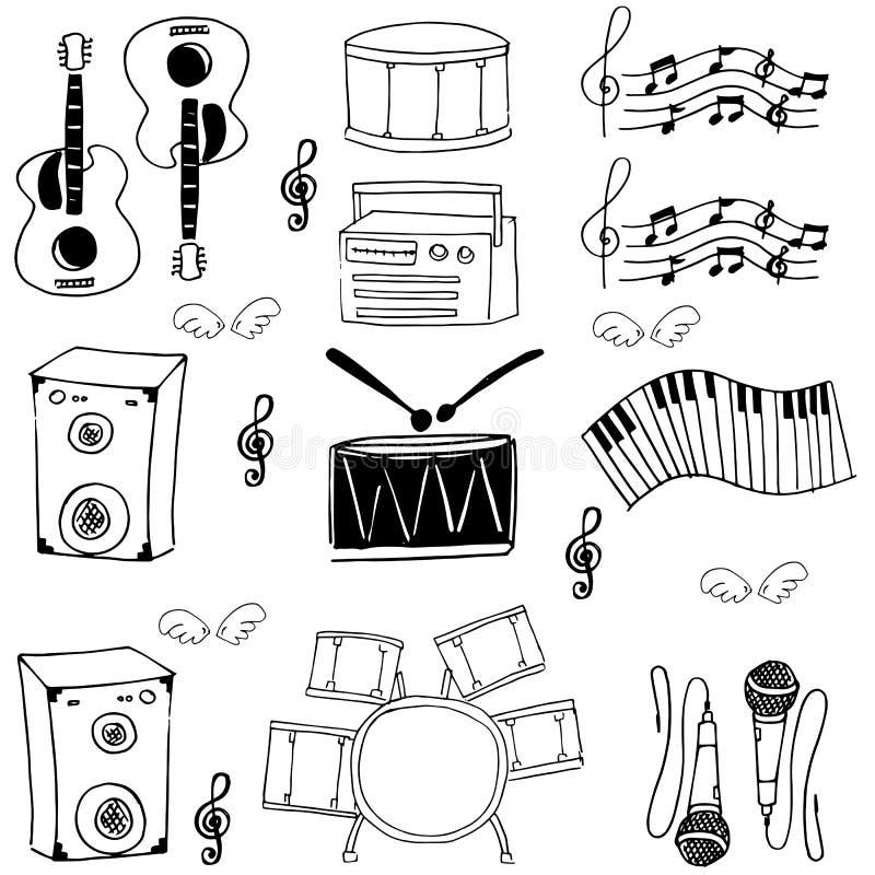 Klotter av vektorn för samling för hjälpmedelmusikmateriel stock illustrationer