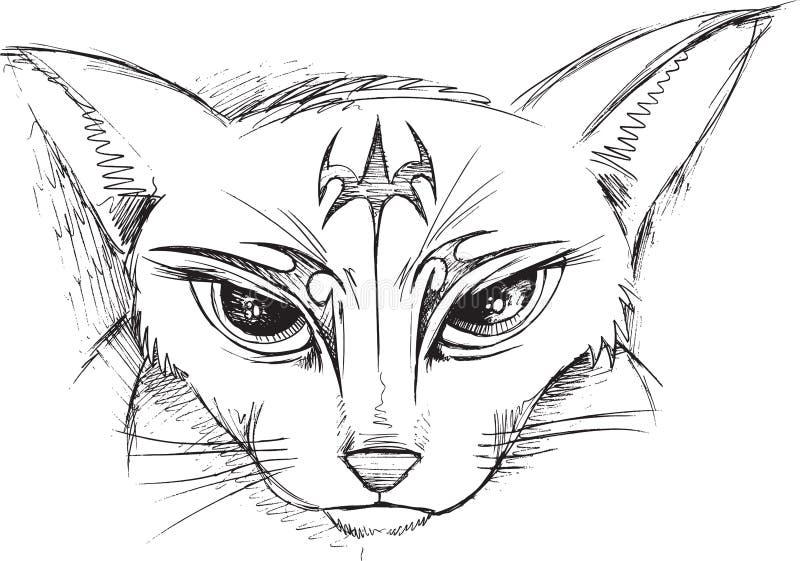 Klotter Cat Face Vector vektor illustrationer