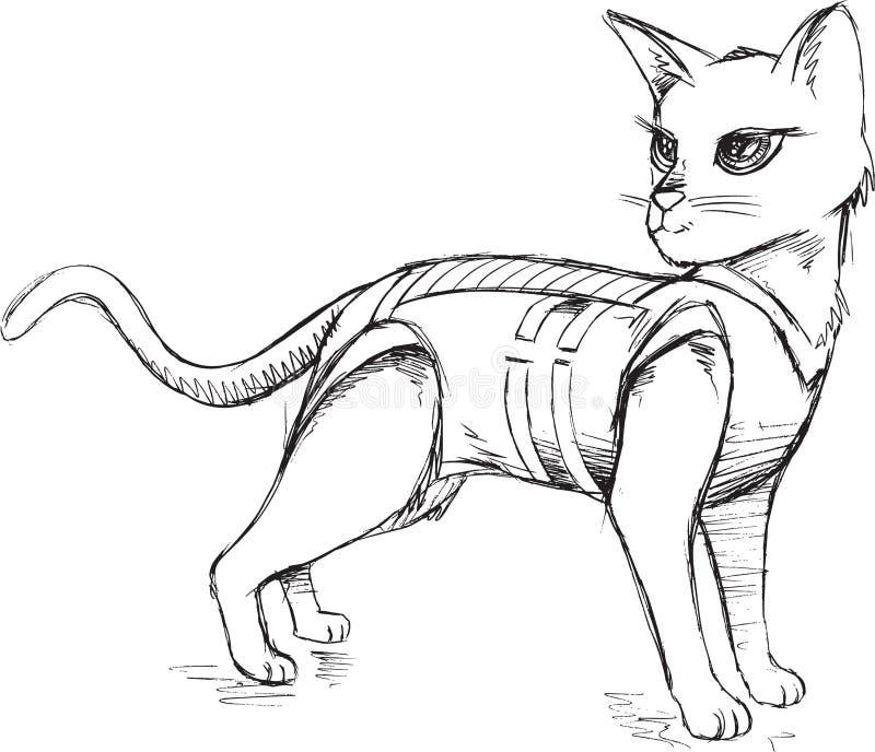 Klotter Cat Vector stock illustrationer