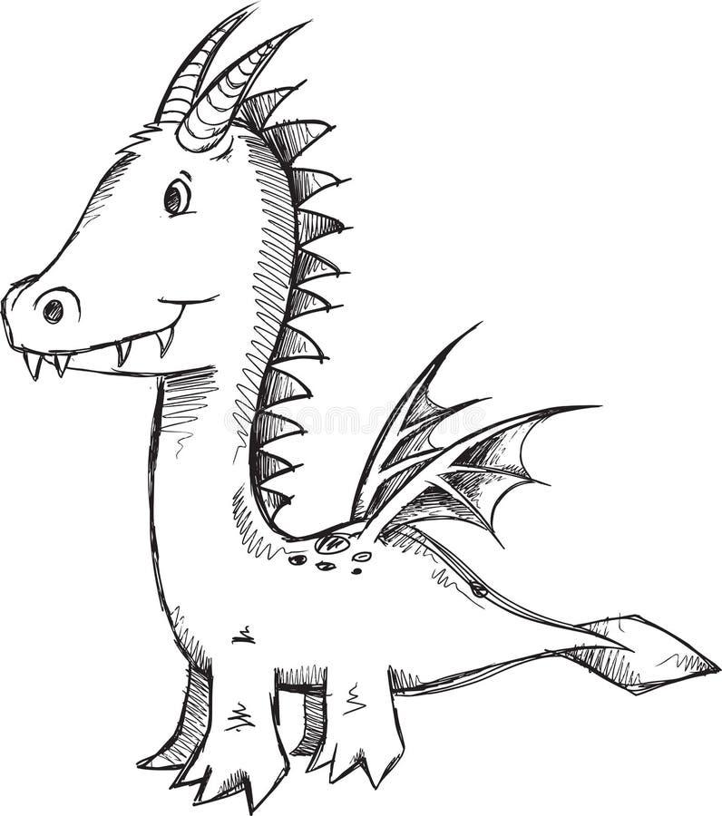 Klotter Dragon Vector royaltyfri illustrationer