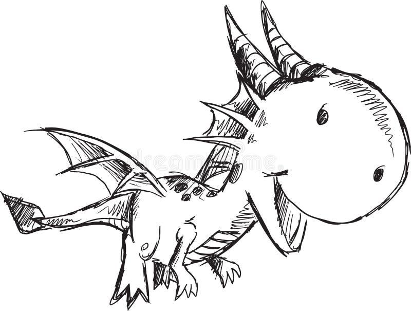 Klotter Dragon Vector stock illustrationer