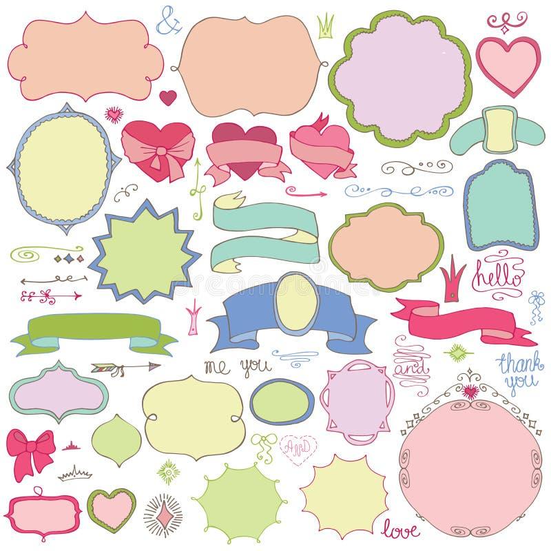 Klotter färgade etiketter, emblem, dekorbeståndsdel Förälskelse royaltyfri illustrationer