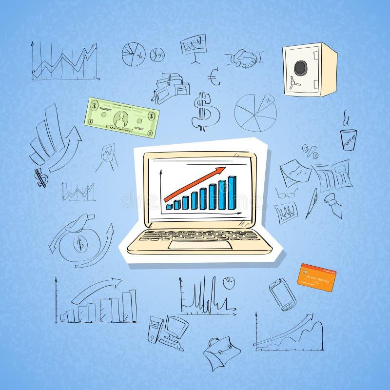 Klotter för affärsidé för bärbar datorfinansdiagram royaltyfri illustrationer
