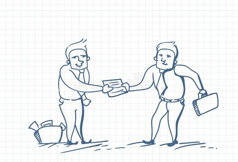 Klotter för affärsman som ger en annan affärsman Document Or Contract över kvadrerad bakgrund vektor illustrationer