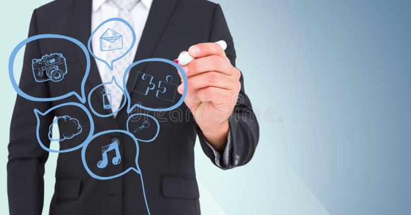 Klotter för bubbla för anförande för blått för teckning för avsnitt för affärsman mitt- mot blå bakgrund royaltyfri foto