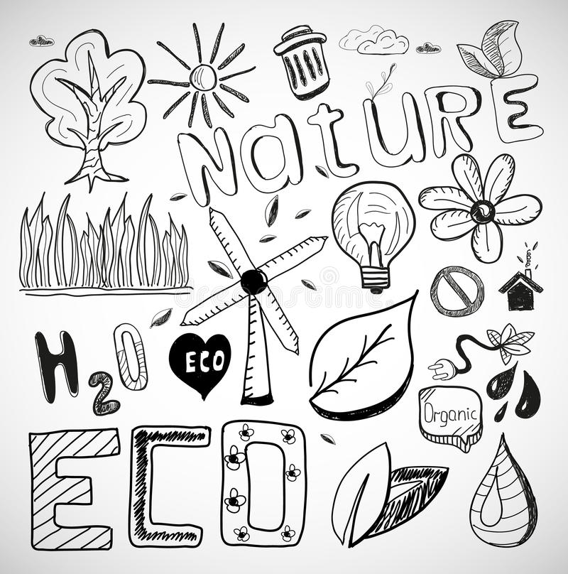 Klotter för ekologinaturvektor royaltyfri illustrationer