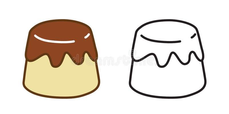 Klotter för illustration för karamell för logo för symbol för kakavektorpudding vektor illustrationer