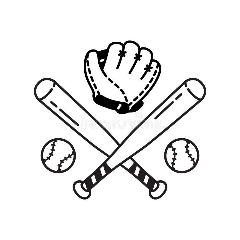 Klotter för illustration för symbol för sport för handske för slagträ för baseball för vektor för baseballbollsymbol royaltyfri illustrationer