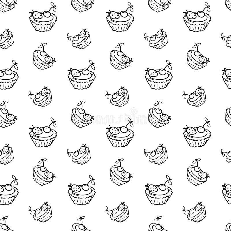 Klotter för kaka för sömlös modellhand utdraget Skissa stilsymbolen deco vektor illustrationer