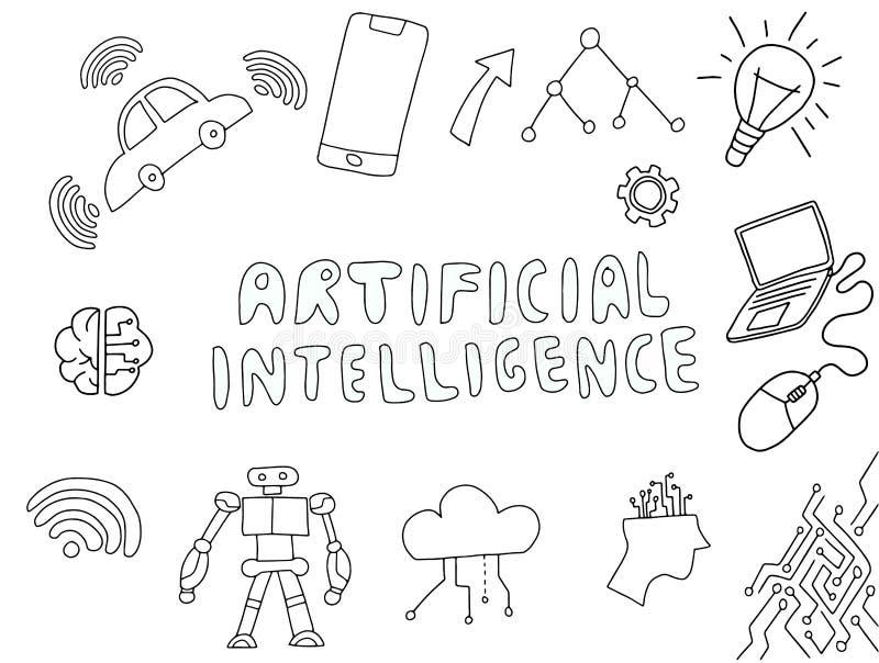 Klotter för konstgjord intelligens för Ai med teknologimaterialvektorn vektor illustrationer