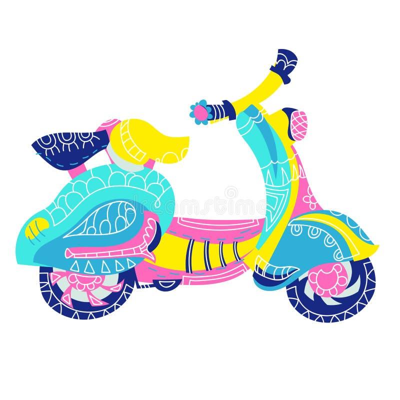 Klotter för motorisk sparkcykel stock illustrationer