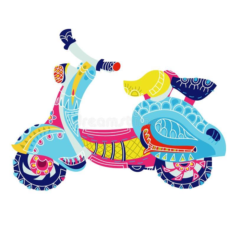 Klotter för motorisk sparkcykel royaltyfri illustrationer