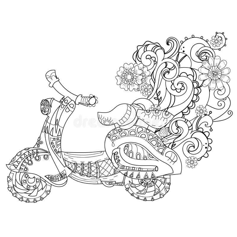 Klotter för motorisk sparkcykel vektor illustrationer