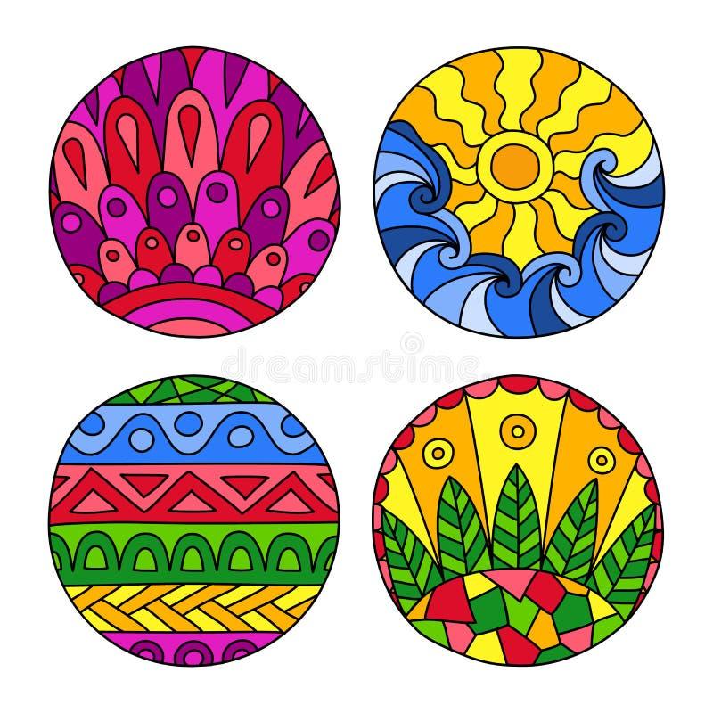 Klotter fylld cirkeluppsättning vektor illustrationer