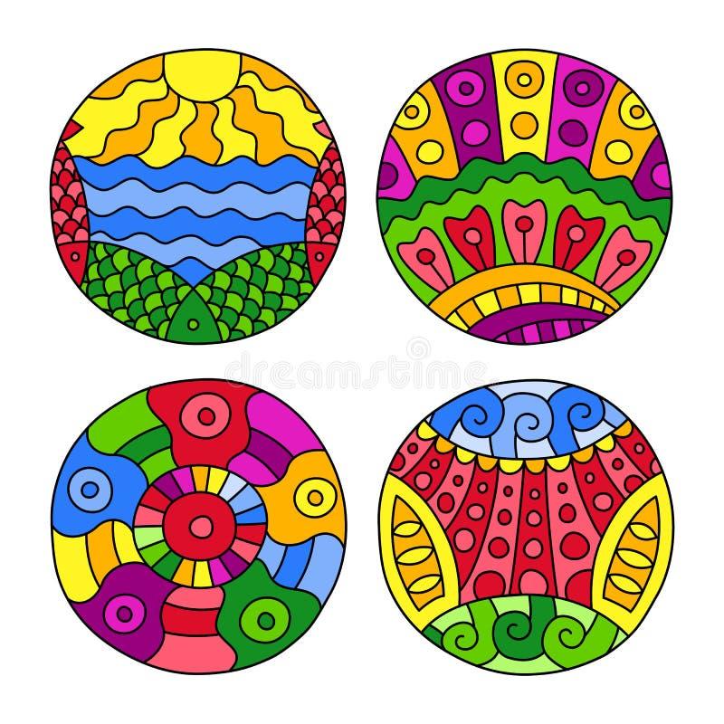 Klotter fylld cirkeluppsättning stock illustrationer