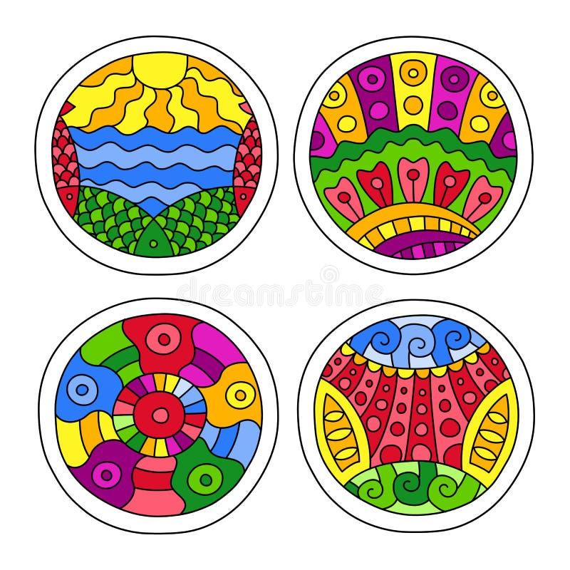 Klotter fylld cirkeluppsättning royaltyfri illustrationer