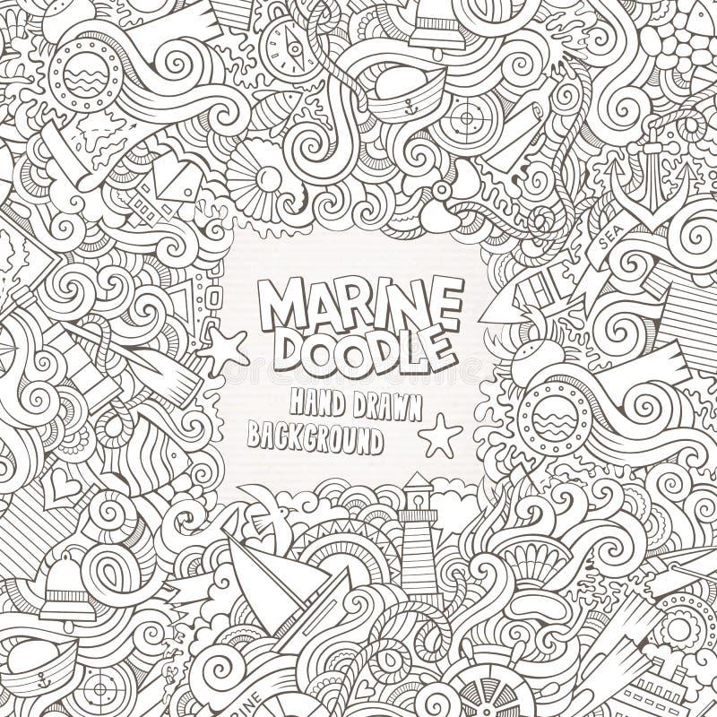 Klotter gör sammandrag den dekorativa nautiska vektorramen royaltyfri illustrationer