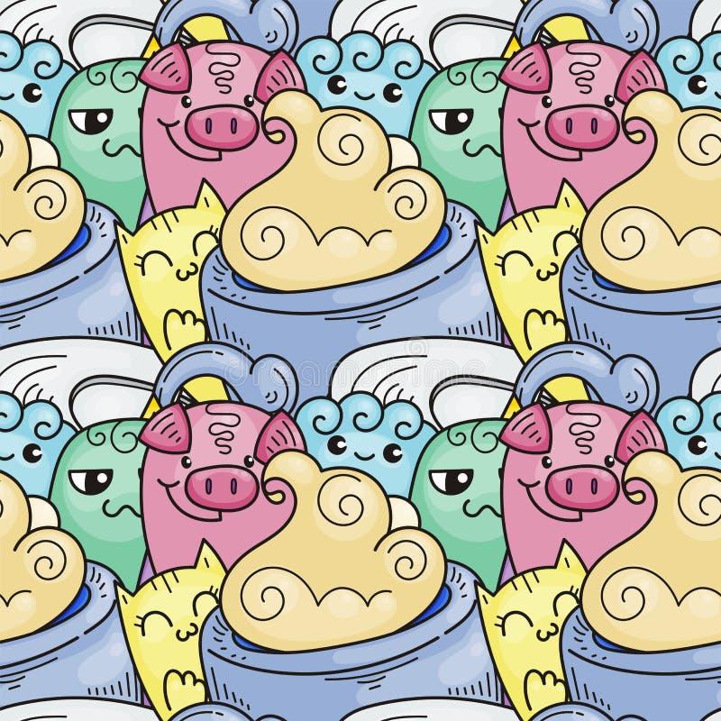Klotter hand-dragen tecknad film med leenden och smak, sömlös modell för coffee shoptema stock illustrationer