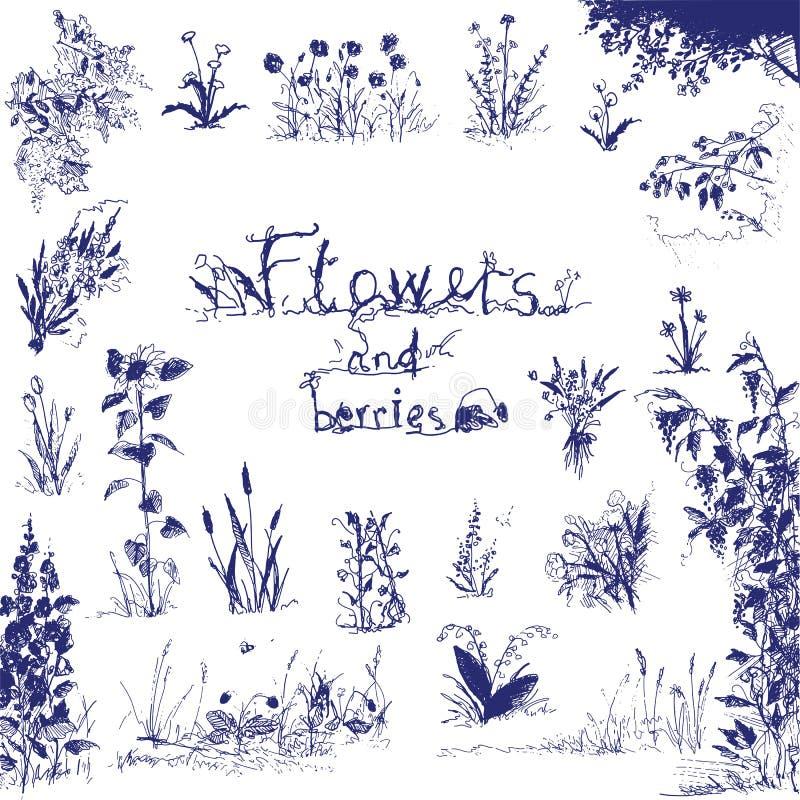 Klotter, hand drog blommor och bär Blått skisserade designbeståndsdelar Abstrakt blom- bakgrund vektor illustrationer