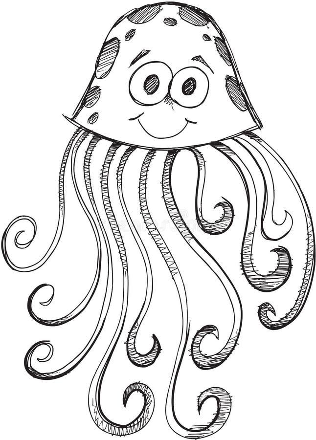 Klotter Jelly Fish Vector vektor illustrationer