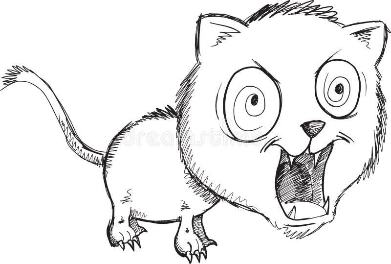 Klotter lösa Cat Vector stock illustrationer