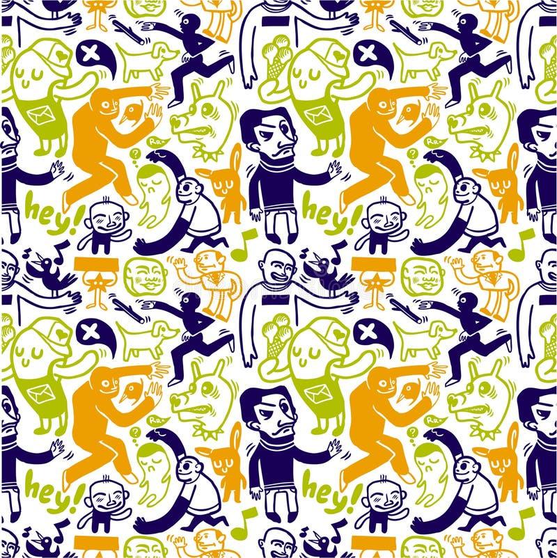 klotter mönsan seamless stock illustrationer