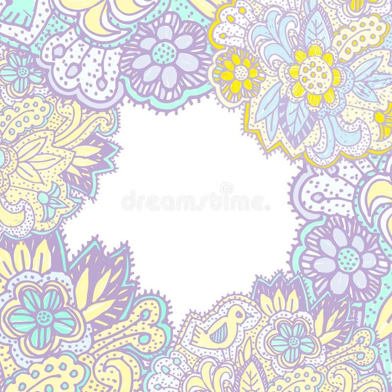 Klotter med blommor och fåglar den fyrkantiga ramen för textlilor gulnar den rosa ljusa prydnaden vektor vektor illustrationer