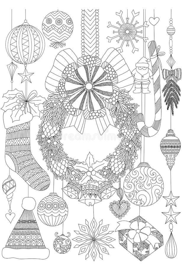 Klotter om dekorativa material för jul för vuxna sidor för färgläggningbok och julkortinbjudan stock illustrationer