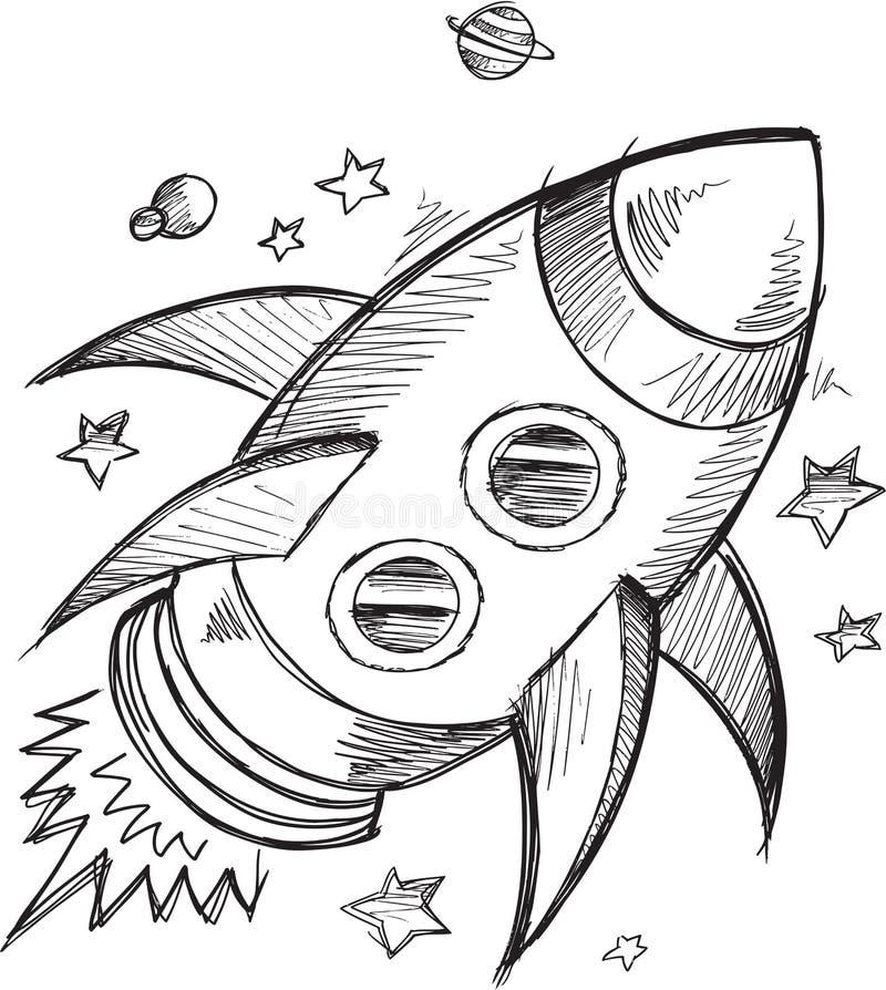 Klotter Rocket Outer Space Vector royaltyfri illustrationer