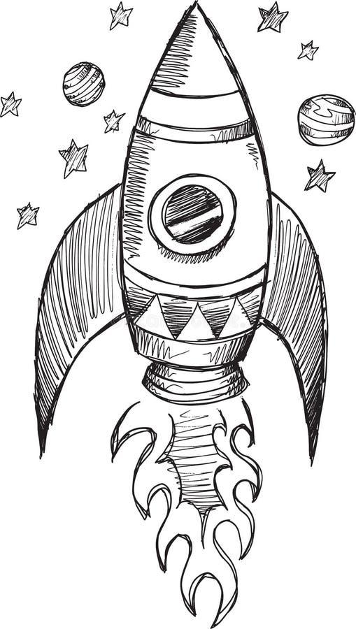 Klotter Rocket Vector royaltyfri illustrationer