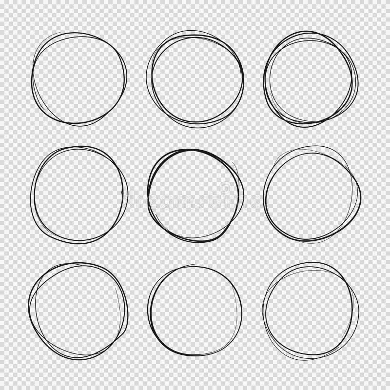 Klotter skissade cirklar Den drog handen klottrar den cirklar isolerade vektoruppsättningen royaltyfri illustrationer