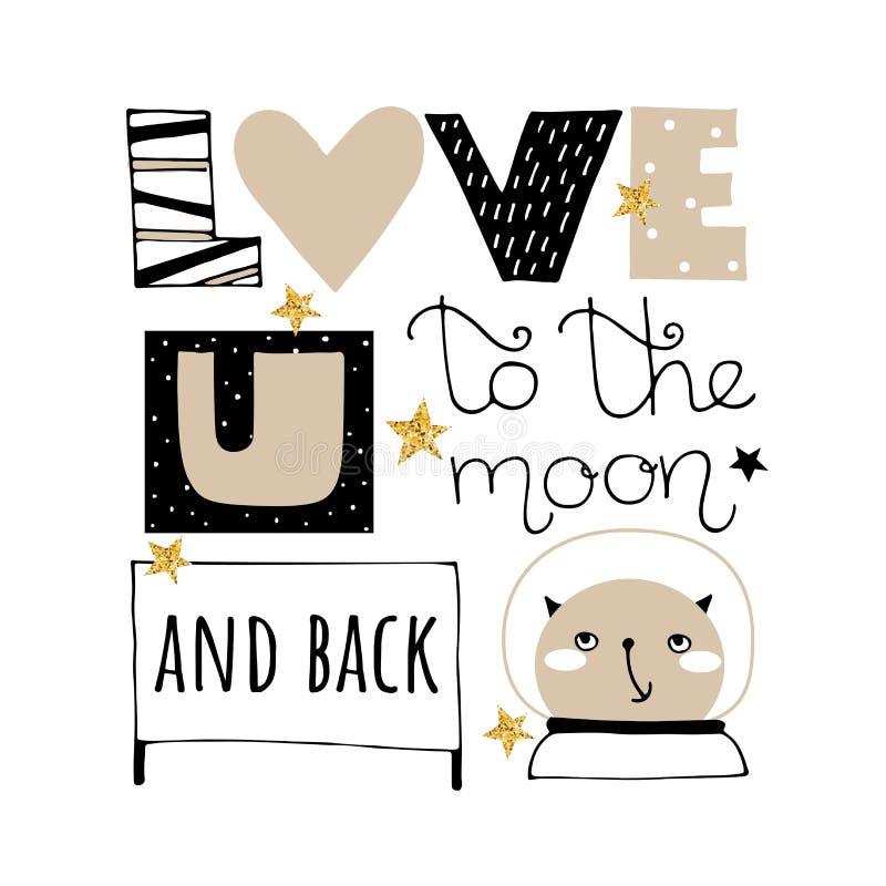 Klotter som märker vektorillustrationen Valentindagkortet med blänker stjärnor Älska dig till månen och det tillbaka uttrycket vektor illustrationer