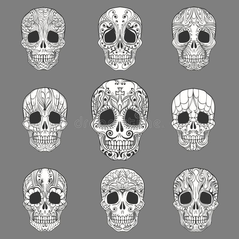 Klotter Sugar Skull Collection stock illustrationer