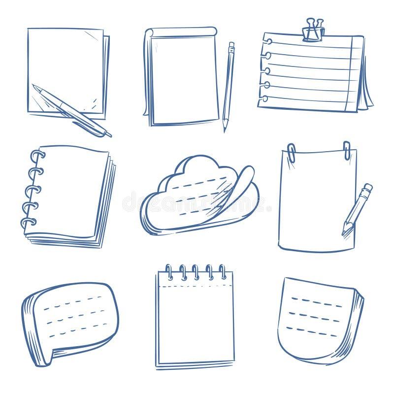 Klotteranmärkning Skissa anteckningsboken, minneslistapapper, olikt dokument För notepadsvektor för hand utdragen uppsättning stock illustrationer