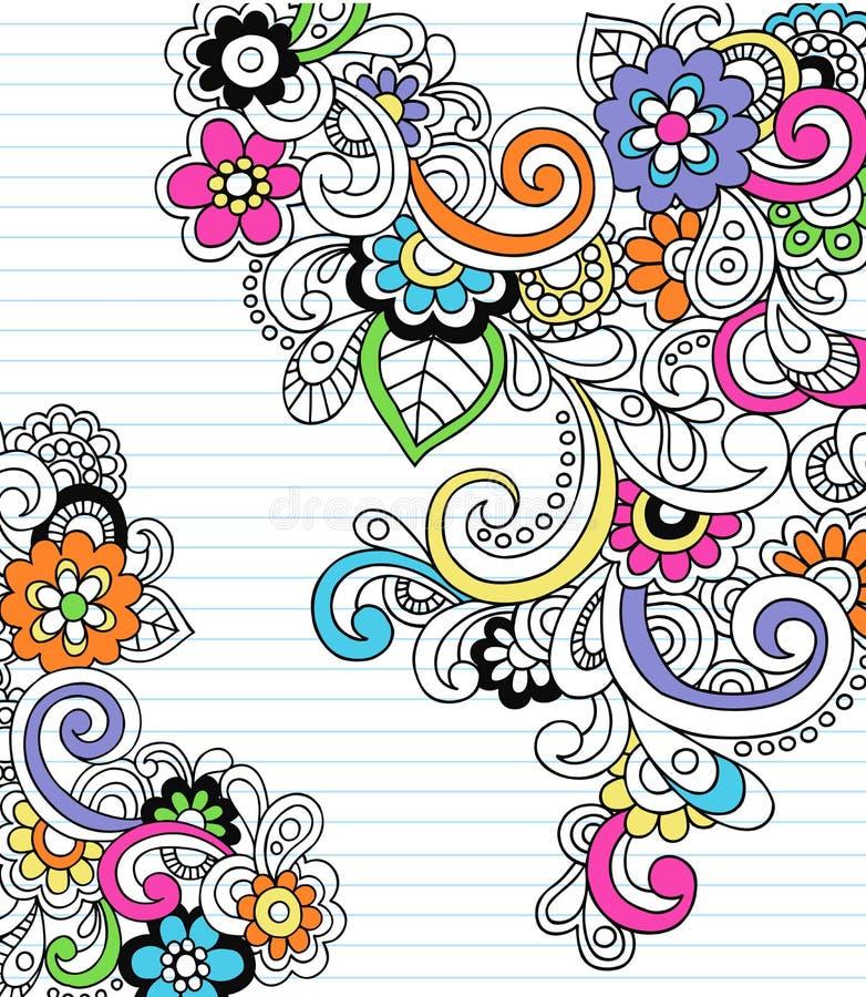 klotteranteckningsbokpaisley psychedelic vektor royaltyfri illustrationer