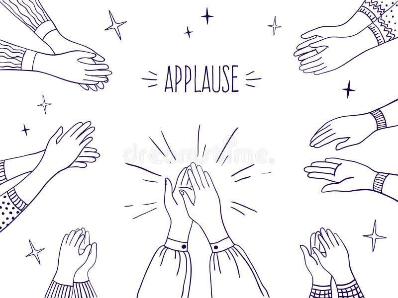 Klotterapplåd Lyckliga folkhänder, hög illustration fem, skissar attraktion av att applådera händer Vektoröverenskommelse och fra royaltyfri illustrationer