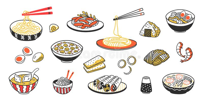 Klotterasiatmat Kinesiska skivor och såser för kött för nudelsoppa Vektortappning skissar av östlig kokkonst med mat vektor illustrationer