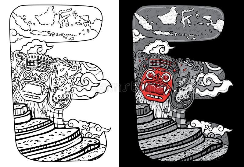 Klotterbarong för beställnings- stilsort och översikt av den indonesia illustrationen vektor illustrationer
