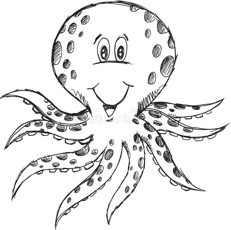 Klotterbläckfiskvektor royaltyfri illustrationer