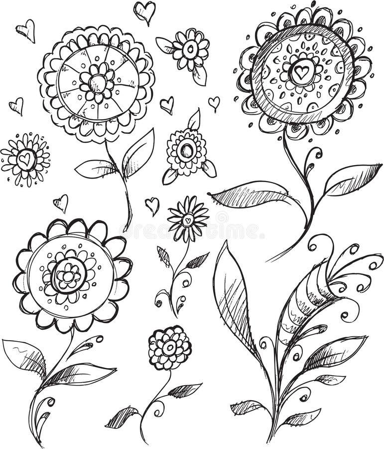 Klotterblommavektor stock illustrationer