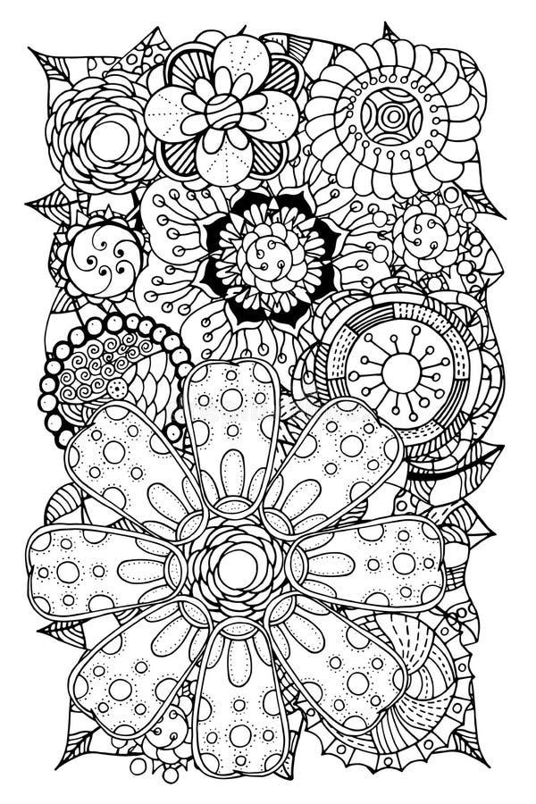 Klotterblommor och blad royaltyfri illustrationer