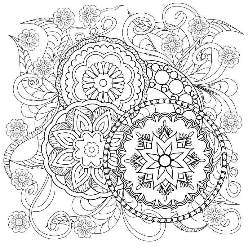 Klotterblommor och mandalas vektor illustrationer
