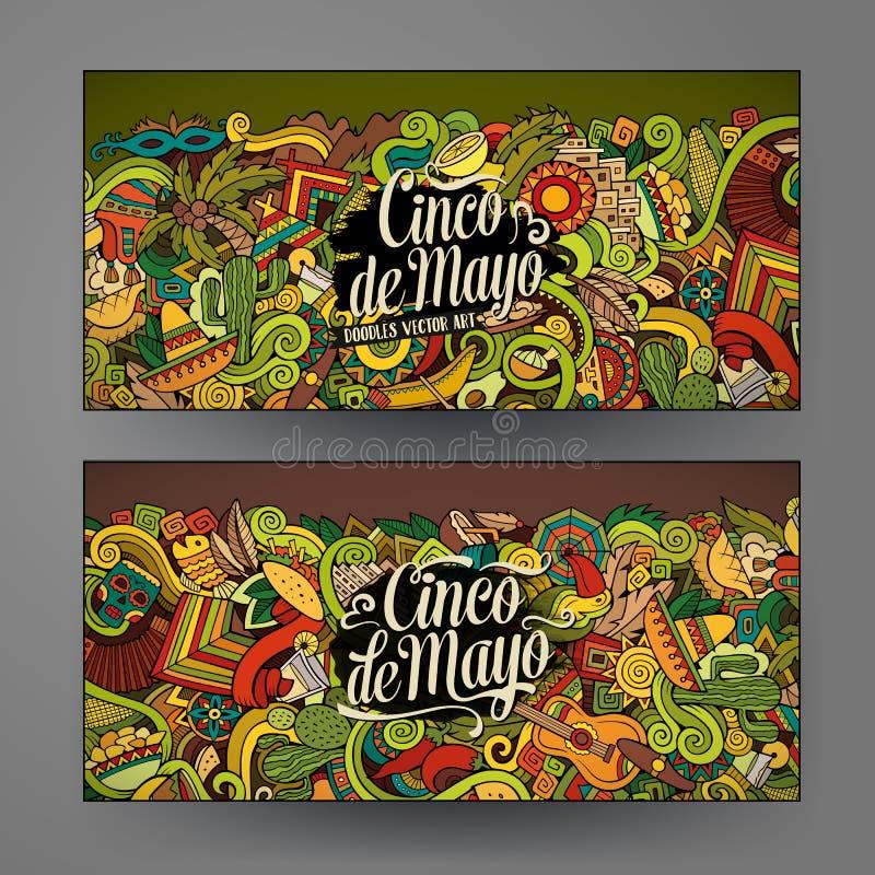 KlotterCinco de Mayo för tecknad film vektor hand-drog kort stock illustrationer