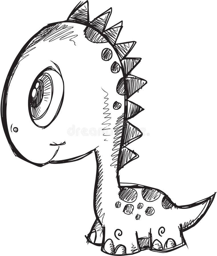 Klotterdinosaurievektor stock illustrationer