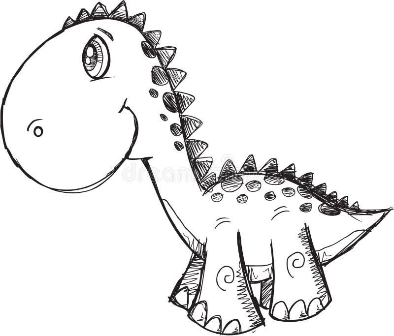 Klotterdinosaurievektor vektor illustrationer