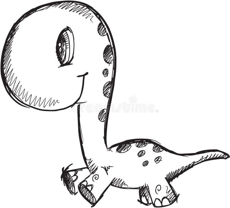 Klotterdinosaurievektor royaltyfri illustrationer
