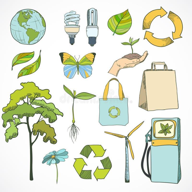 Klotterekologi och miljösymbolsuppsättning royaltyfri illustrationer